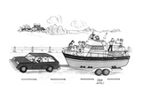 A boat filled with people drinking & laughing is being towed through the c… - New Yorker Cartoon Premium Giclee Print by Joseph Farris