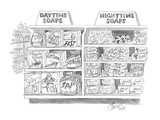 "Two shelves in a grocery store, one ""Daytime Soaps"" with names like ""Zap"" … - New Yorker Cartoon Premium Giclee Print by Edward Frascino"