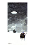 Man fishes through hole in ice on a lake; in the dark wintery sky above hi… - New Yorker Cartoon Premium Giclee Print by Gideon Amichay