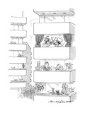 Apartment balconies with people, and one with a Punch and Judy play. - New Yorker Cartoon Premium Giclee Print by Bernard Schoenbaum