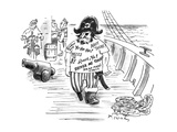 Pirate with T-shirt printed with 'Pirate phrases'. - New Yorker Cartoon Premium Giclee Print by Mike Twohy