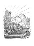 Road sign on stairway to Heaven reads; Entering heaven  pop. 8 - New Yorker Cartoon Premium Giclee Print by John Jonik