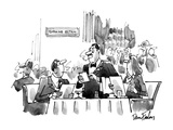 Couple sitting at a dinner t table smoking.  In the distance there is a si… - New Yorker Cartoon Premium Giclee Print by Dana Fradon