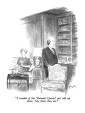 """I wonder if the 'Harvard Classics' are still up there.  Yep, there they a…"" - New Yorker Cartoon Premium Giclee Print by Charles Saxon"