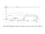 Fred Staska Driving His Novel in Progress from New York to New Mexico - New Yorker Cartoon Premium Giclee Print by Ed Arno
