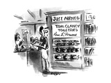 Man in store sees shelves with 'Tom Clancy Toiletries-Pour L'Homme'. - New Yorker Cartoon Premium Giclee Print by Lee Lorenz