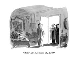 """Better late than never, eh, Herb"" - New Yorker Cartoon Premium Giclee Print by James Stevenson"
