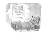Man lies in bed dreaming of an ad agency with the names of ten or 11 of th… - New Yorker Cartoon Premium Giclee Print by James Stevenson
