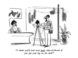 """I think you'd look even more state-of-the-art if you put your leg on the …"" - New Yorker Cartoon Premium Giclee Print by Donald Reilly"