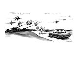 Workman holding stop sign motions to two men in car;in front of them are t… - New Yorker Cartoon Premium Giclee Print by Eldon Dedini