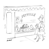 Dog in window of store called 'Petville' holds up 'Reduced' sign.  Woman a… - New Yorker Cartoon Premium Giclee Print by Frank Modell