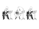 Large tuba player inflates his instrument and gets smaller when he plays. - New Yorker Cartoon Premium Giclee Print by Joseph Farris