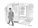 A man walks by a sign for the URBAN MEDICAL BUILDING, which lists the name… - New Yorker Cartoon Premium Giclee Print by James Stevenson