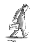 "Man with briefcase that -reads, ""Edward T. Peabody since 1921."" - New Yorker Cartoon Premium Giclee Print by Henry Martin"