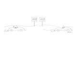 "Two-panel drawing. Man drives by sign that reads, ""Caution Pothole."" In th… - New Yorker Cartoon Premium Giclee Print by Ed Arno"