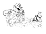 Picture of a clown sitting at a table staring at a skull that is wearing a… - New Yorker Cartoon Premium Giclee Print by William Steig