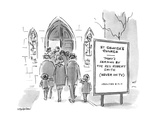 Church Announcement board reads 'Today's Sermon by the Rev. Robert Smith' … - New Yorker Cartoon Premium Giclee Print by James Stevenson