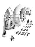 Large words printed on museum floor read, 'Visit Our Gift Shop.' - New Yorker Cartoon Premium Giclee Print by Eldon Dedini