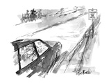 "Road sign says ""No smoking next 10 miles"". - New Yorker Cartoon Premium Giclee Print by Joseph Mirachi"