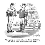 """I'm going to try to settle you down, Halberson, but first a word about Fe…"" - New Yorker Cartoon Regular Giclee Print by Dana Fradon"