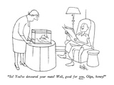 """So!  You've devoured your mate!  Well, good for you, Olga, honey!"" - New Yorker Cartoon Premium Giclee Print by George Price"