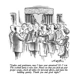 """""""Ladies and gentlemen, may I have your attention  It's 7 P.M.  The cockta…"""" - New Yorker Cartoon Premium Giclee Print by Henry Martin"""