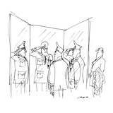 General saluting himself in three-way mirror while tailor looks on. - New Yorker Cartoon Regular Giclee Print by Al Ross