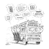 Men on emergency rescue squad all fantasising about money and fame for the… - New Yorker Cartoon Premium Giclee Print by Ed Fisher