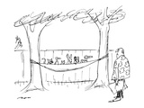 A man approaches his hammock, with is filled with animals. - New Yorker Cartoon Premium Giclee-trykk av Al Ross