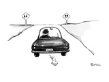 Man in car driving off and on either side of the road are signs with quota… - New Yorker Cartoon Premium Giclee Print by Eldon Dedini