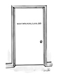 "Door with sign ""Waldo P. Smith, M.D., PH.D., J.D., M.B.A., $$$"". - New Yorker Cartoon Premium Giclee Print by Dana Fradon"