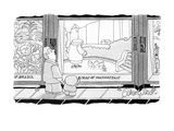 "Exhibit in museum is called ""Birds Of Manhattan,"" showing a woman feeding … - New Yorker Cartoon Premium Giclee Print by Gahan Wilson"