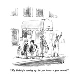 """My birthday's coming up.  Do you know a good caterer"" - New Yorker Cartoon Premium Giclee Print by Robert Weber"