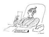A woman executive sits at her desk reading a letter; on her desk is a sign… - New Yorker Cartoon Premium Giclee-trykk av Al Ross