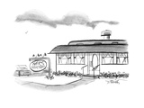 "Diner with sign ""HERS (Formerly Moms) - New Yorker Cartoon Premium Giclee Print by Donald Reilly"