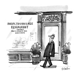 "Man walks past restaurant whose window reads,""Phelps, Timmon & Ashe former… - New Yorker Cartoon Regular Giclee Print by Dana Fradon"