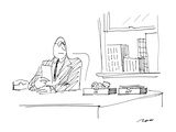 "Man with roosting bird in his ""In"" box. - New Yorker Cartoon Premium Giclee-trykk av Al Ross"