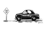 Man in car speeds by a sign that reads 'Funky When Wet.' - New Yorker Cartoon Premium Giclee Print by Eldon Dedini