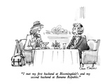 """I met my first husband at Bloomingdale's and my second husband at Banana …"" - New Yorker Cartoon Premium Giclee Print by Dana Fradon"
