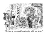 """We have a very special relationship with our barber."" - New Yorker Cartoon Premium Giclee Print by Edward Koren"