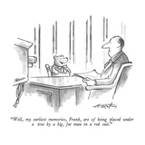 """Well, my earliest memories, Frank, are of being placed under a tree by a …"" - New Yorker Cartoon Premium Giclee Print by Henry Martin"