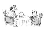 Sheepish man looking at fortune teller who is looking in a crystal ball wi… - New Yorker Cartoon Premium Giclee Print by William Steig