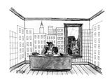 A farmer sitting in his office, wallpapered with a depiction of an urban s… - New Yorker Cartoon Regular Giclee Print by Warren Miller