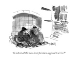 """""""So when's all this new street furniture supposed to arrive"""" - New Yorker Cartoon Premium Giclee-trykk av Donald Reilly"""