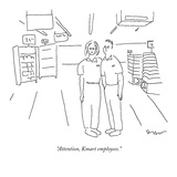 """Attention, Kmart employees."" - New Yorker Cartoon Premium Giclee Print by Michael Shaw"