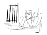 "Man in jail reading ""Collected Alibis"". - New Yorker Cartoon Premium Giclee Print by Al Ross"