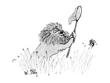 Lion with butterfly net chases butterfly. - New Yorker Cartoon Premium Giclee Print by William Steig