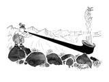 A shepherd in the mountains blows a sheep out of his alpenhorn. - New Yorker Cartoon Premium Giclee Print by Peter Porges