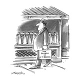 """Picture of man walking down the street; his briefcase reads,""""The Papers of…"""" - New Yorker Cartoon Premium Giclee Print by Henry Martin"""