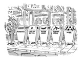 Man on subway platform stands next to trash bins labeled: 'Newspapers,' 'C… - New Yorker Cartoon Premium Giclee Print by Tom Hachtman